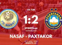 FC Pakhtakor continue their winning streak with a 2-1 victory over FC Nasaf in Karshi