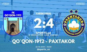 FC Pakhtakor down FC Kokand to earn a spot in Uzbekistan League Cup final