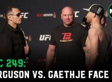 """UFC 249"" турнири иштирокчилари кўз уруштириш маросимида иштирок этишди (Видео)"
