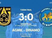 Кубок лиги Узбекистана: АГМК отправил в ворота «Динамо» 3 безответных мяча