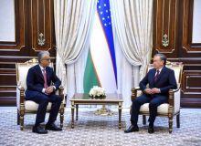 Uzbekistan President Shavkat Mirziyoyev meets with AFC President Sheikh Salman to discuss football development