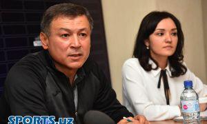 Photo Gallery. Press Conference with FC AGMK head coach Mirjalol Qosimov