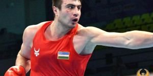 Bakhodir Jalolov takes part in the AIBA Elite World Boxing Championships after the Tokyo Olympic Games