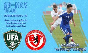 Сегодня молодёжная сборная Узбекистана проведёт в Намангане второй товарищеский матч против академии Берлина