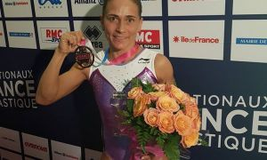 Uzbekistan's Oksana Chusovitina gains a gold gold medal at the Paris World Challenge Cup