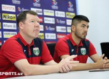 Photo Gallery. Andrey Fyodorov and Islom Tukhtakhujaev attend press conference ahead of Al Rayyan clash