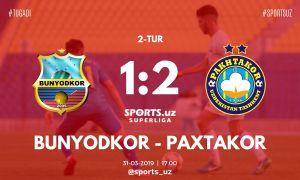 FC Pakhtakor secure a 2-1 victory over FC Bunyodkor