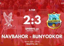 Суперлига: «Бунёдкор» победил «Навбахор» в непростом противостоянии
