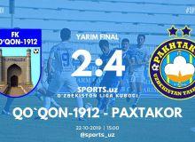 Кубок лиги Узбекистана: «Пахтакор» - первый финалист