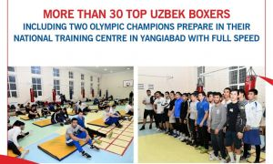 More than 30 top Uzbek boxers including two Olympic Champions prepare in their National Training Centre in Yangiabad with full speed