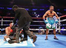 Uzbekistan's Fazliddin Gaibnazarov knocks out Jesus Silveyra at the Madison Square Garden