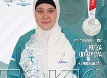 Uzbekistan's Ruza Kuzieva finish women's powerlifting final with a silver medal