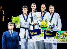Dmitriy Shokin earns a bronze medal in the World Taekwondo Grand Prix of 2018