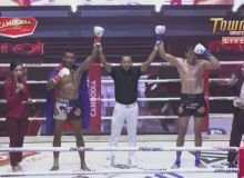 Mansurbek Tolipov square off against Cambodian Sinja at the MAS Fight