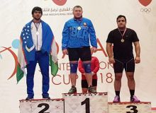 Uzbekistan's Akbar Juraev claims a bronze medal at the 5th International Qatar Cup