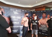 Sherzod Kusanov weighs in. Today he fights for the belt