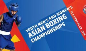Uzbekistan's Rakhmatullo Toshpulatov defeats China's Qian Jiahao on the ASBC Youth Boxing Championships Opening Day
