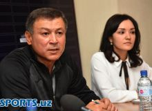 Photo Gallery. Press Conference with FC AGMK head coach Mirjalol Qosimov