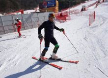 Olympic Winter Games. Uzbekistan's Komiljon Tukhtaev loses control in men's slolam run