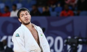 Uzbekistan's Sharafuddin Lutfillaev claim a silver medal at the World Judo Championships