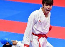 Uzbekistan's Sadriddin Saymatov claims a bronze medal in Asian Games Men's Karate 60kg