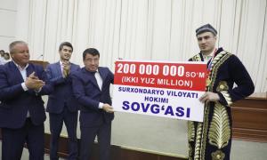 Баҳодир Жалоловга 200 000 000 млн сўм пул мукофоти берилди