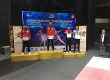 Uzbekistan's Sherzod Mamutov gains a bronze medal in the 2019 Asian Juniors and Cadets Fencing Championships