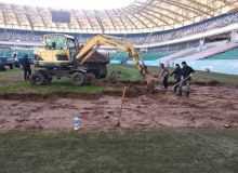 На стадионе «Миллий» начались работы по замене газона