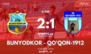 FC Bunyodkor gain a 2-1 win over FC Kokand in Tashkent