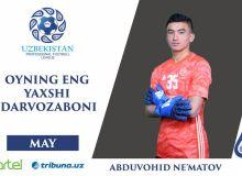 Абдувохид Нематов – лучший вратарь мая