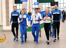 Торжественная встреча велоспортсменов Узбекистана